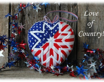 Quilted Flag Heart Patriotic Ornament Kit and Pattern - Love of Country