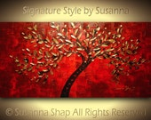 ORIGINAL Large Abstract Tree Painting Red & Gold Painting Modern Palette Knife Textured Landscape Home Decor Wall Art by Susanna 48x24