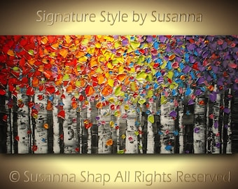 ORIGINAL Rainbow Birch trees Painting Aspen Landscape Oil Painting Palette Knife Art Abstract Woodlands Chakra Color therapy Canvas artwork