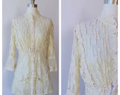 romantic lace beige party short dress / lace button up victorian style dress /  medium