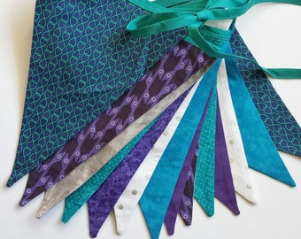 Eco friendly party bunting, purple, teal and silver flags, reusable banner, garland, pennants, double-sided, ready to ship