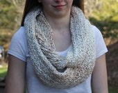 Shades of Tan Knitted Infinity Scarf