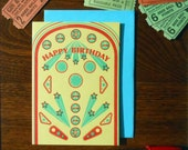 letterpress retro yellow red blue vintage inspired pinball happy birthday greeting card