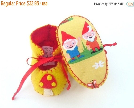 20 % off Summer Sale Garden Gnomes Unisex ECO Baby Booties Baby Boots Baby Bootees Baby Booty Shoe Newborn Infant Baby First Shoes Baby Show