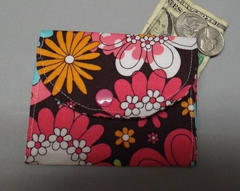 Mini Fabric Wallet Flowers on Chocolate
