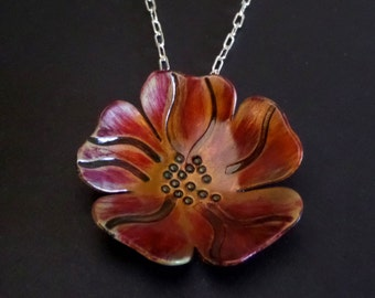 Copper Poppy Flower Pendant Necklace