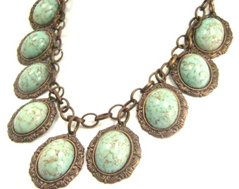Turquoise Elegance ...  Victorian Vintage Glass One of a Kind Creation