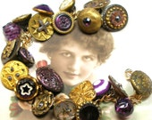 "RESERVED, Love Letter, Antique BUTTON charm bracelet, Victorian purple glass, 7.5"" one-of-a-kind jewellery. Reserved for TS."