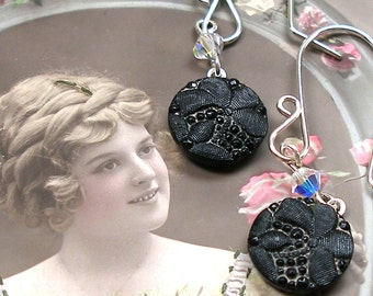 Lacy Antique BUTTON earrings, Victorian black glass with flowers. One of a kind button jewellery.