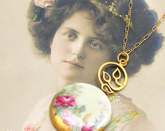 Rose, Antique BUTTON necklace, Edwardian FLOWERS on gold chain, one of a kind jewellery.