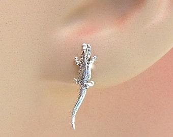Earrings Alligator Gator Mascot Sterling Silver Animal Minimal Ear Studs no. 3507