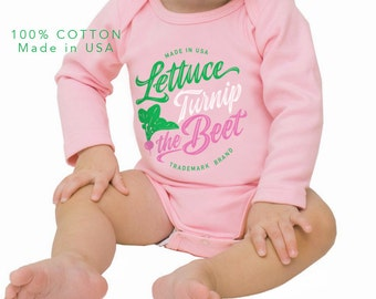 lettuce turnip the beet ® trademark brand - cotton - pink cotton long sleeve bodysuit with cursive logo