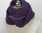 Ripple Infinity scarf - circle scarf - Cowl - Neckwarmer in Eggplant Purple and Dusty Purple Light
