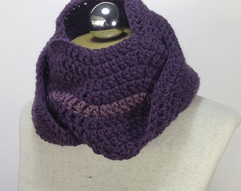Ripple Infinity scarf - circle scarf - Cowl - Neckwarmer in Eggplant Purple and Dusty Purple Light