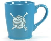 Yarn Mug - Sky Blue - fiber love coffee cup for a knitter