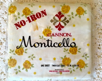 Cannon Monticello Twin Flat Sheet Yellow Roses  - NIP - Unused No-Iron Muslin - Vintage Rose Sheet
