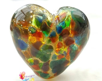 Lampwork Glass Beads Stained Glass Heart Focal
