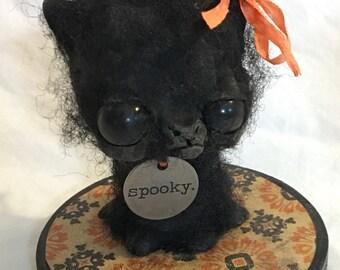 Spooky the black cat Ooak  art doll