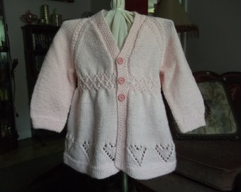 Pink Hearts Baby Matinee Coat Sweater