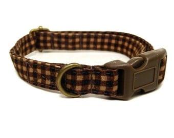 The Wyatt - Hipster Brown Plaid Organic Cotton CAT Collar Breakaway Safety - All Antique Brass Hardware