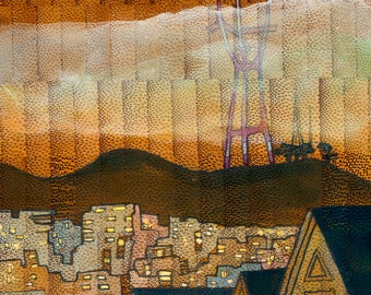 """Sutro Tower, 4x4"""" Print Mounted on Wood"""
