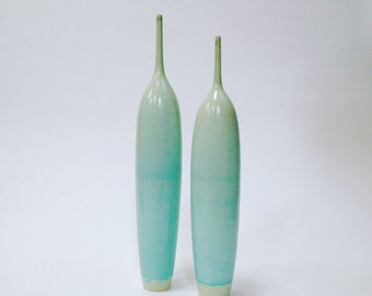 Ships Now-  2 stoneware bottle vases glazed in blue green satin glaze by sara paloma