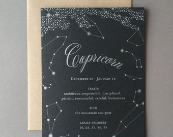 Capricorn Birthday Card, letterpress, zodiac