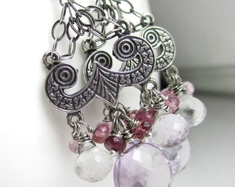 SALE Pink and Purple Posies Earrings - Sterling Chandeliers, Pink Amethyst, Quartz, and Pink Tourmaline