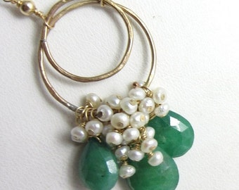 VDAY SALE Deep Green Emerald and Freshwater Pearl Cascade Necklace in 14k Gold Fill