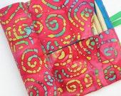 double pointed knitting needle case - organizer - 28 pockets -  colorful batak