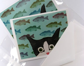 Funny Cat Cards - Silent Mylo Tuxedo Cat -  Fish Attack - Blank Note Cards - Cat Art