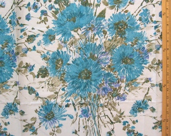 "screen print, border print-- early-1960's polished cotton -- vintage floral fabric -- large turquoise flower bouquets -- 45"" x 1.3 yards"