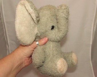 Vintage Old Stuffed Gray Elephant Toy, shabby chic, 70s, home décor, well loved, collectible