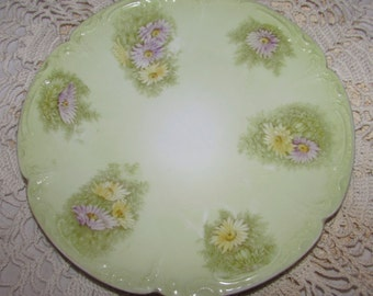 Vintage Hand Painted Bavarian China Porcelain Dessert Plate, Green background with Purple Yellow Daisies, Germany, signed, crown castle logo