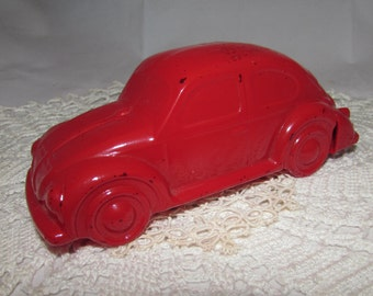 Vintage Red Glass Avon Wild Country After Shave Cologne Perfume Bottle of VW Volkswagen Bug Car, 70s, collectible