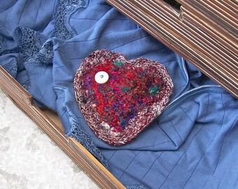Handmade Silk Tapestry Heart Shaped Lavender Lingerie Drawer Sachet - I Love You Heart for Valentine - Keepsake Gift for Mothers Day STLH01