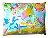 "Lillywood Pillow Made from Lilly Pulitzer Fabric ~ 10""x13"""