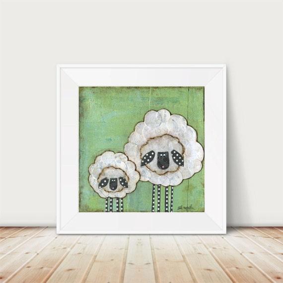 Whimsical Sheep Art print. Sheep folk art. Nursery Decor. Mama and Baby. Mixed media art. Farmhouse farm animal painting. lambs shepherd.