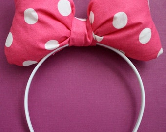"The ""Call Me Miss Mouse"" Bow Pink and White Polka Dots"