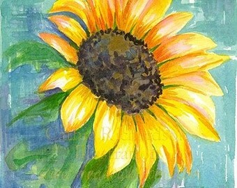 Yellow Sunflower Original Watercolor Painting