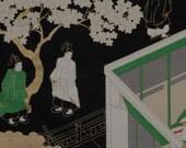 Furoshiki 'Tale of Genji on Black' Cotton Japanese Fabric 50cm w/Free Insured Shipping