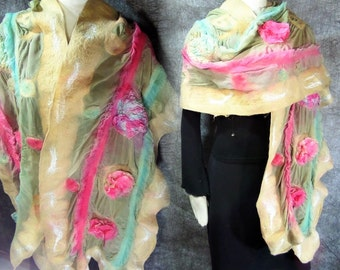 Nuno felted 3 Dimension silk shawl scarf in color beige olive green with flowers for woman
