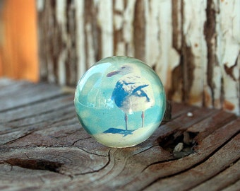 Acrylic Bubble Ring, SEAGULL ON BEACH by Smash Gardens on Etsy, Stocking Stuffers, Bridesmaids Gifts, Galaxy Jewelry, Statement Ring