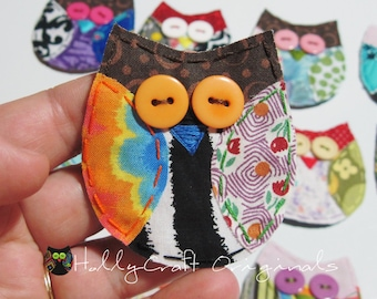 Owl Applique, Scrappy Owl,Owl Scrapbooking Embellishment, Fabric Owl,Owl Embellishment, Scrap Fabric Owl, Scrapbook Owl READY to SHIP, Patch
