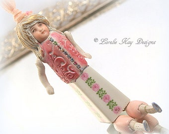 Twiggy Art Doll Necklace Ornament Sugary Sweet Art Doll Jewelry Mixed Media One-of-a-Kind Assemblage Pendant