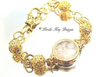 Quartz Crystal Gemstone Bracelet Watch Case Steampunk Style Every Day Simple Bracelet