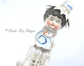 Original Glass Marble Art Doll Sun Catcher Art Doll Silver & Crystal Art Doll Assemblage Silver Art Doll Mixed Media Sculpture