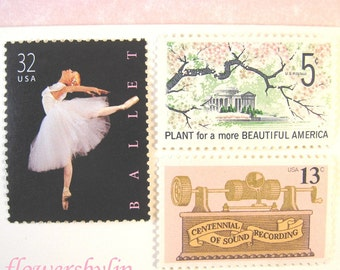 Unused Vintage Postage Stamps, Ballerina Postage, Cherry Blossoms Pink Stamps, Mail 10 Letters or Cards 1 oz 49 cents, pink flowers - ballet