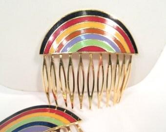 Vintage enamel hair comb, rainbow hair combs, 1980s hair accessory, 80s fashion