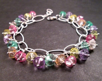 SALE - Silver Beaded Bracelet, Colorful Glass, Wire Wrapped Charm Bracelet, FREE Shipping U.S.
